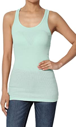 Womens Vest Tank Top Soft Cotton Lycra Ribbed Size M 10 Aqua