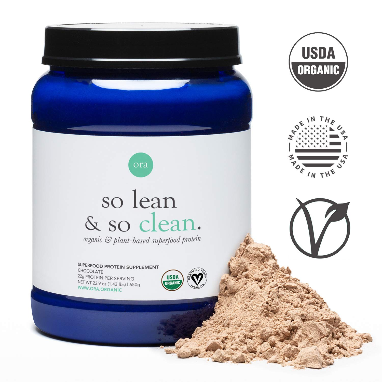 Ora Organic Vegan Protein Powder - 22g of Plant-Based Protein with Enzymes for Digestion & 20+ Superfoods - Dairy-Free, Gluten-Free, Soy-Free, Paleo, Keto-Friendly - Chocolate Flavor, 20 Servings by Ora Organic