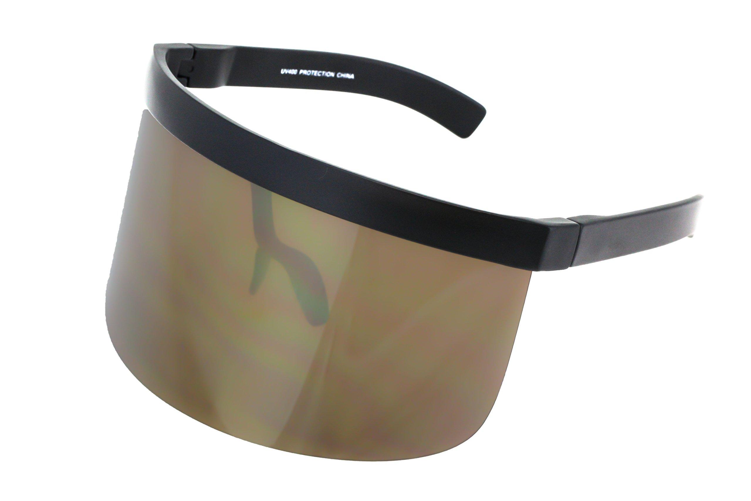 Elite Futuristic Oversize Shield Visor Sunglasses Flat Top Mirrored Mono Lens 172mm (Gold Mirror, 172)