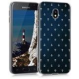 kwmobile Hülle für Samsung Galaxy J3 (2017) DUOS - TPU Silikon Backcover Case Handy Schutzhülle - Cover klar Anker Muster Design Weiß Dunkelblau