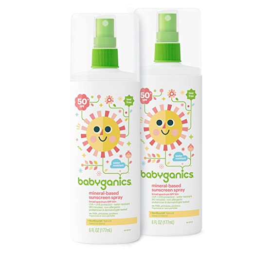 Babyganics Mineral-Based Baby Sunscreen Spray, SPF 50, 6oz Spray Bottle (Pack of 2)