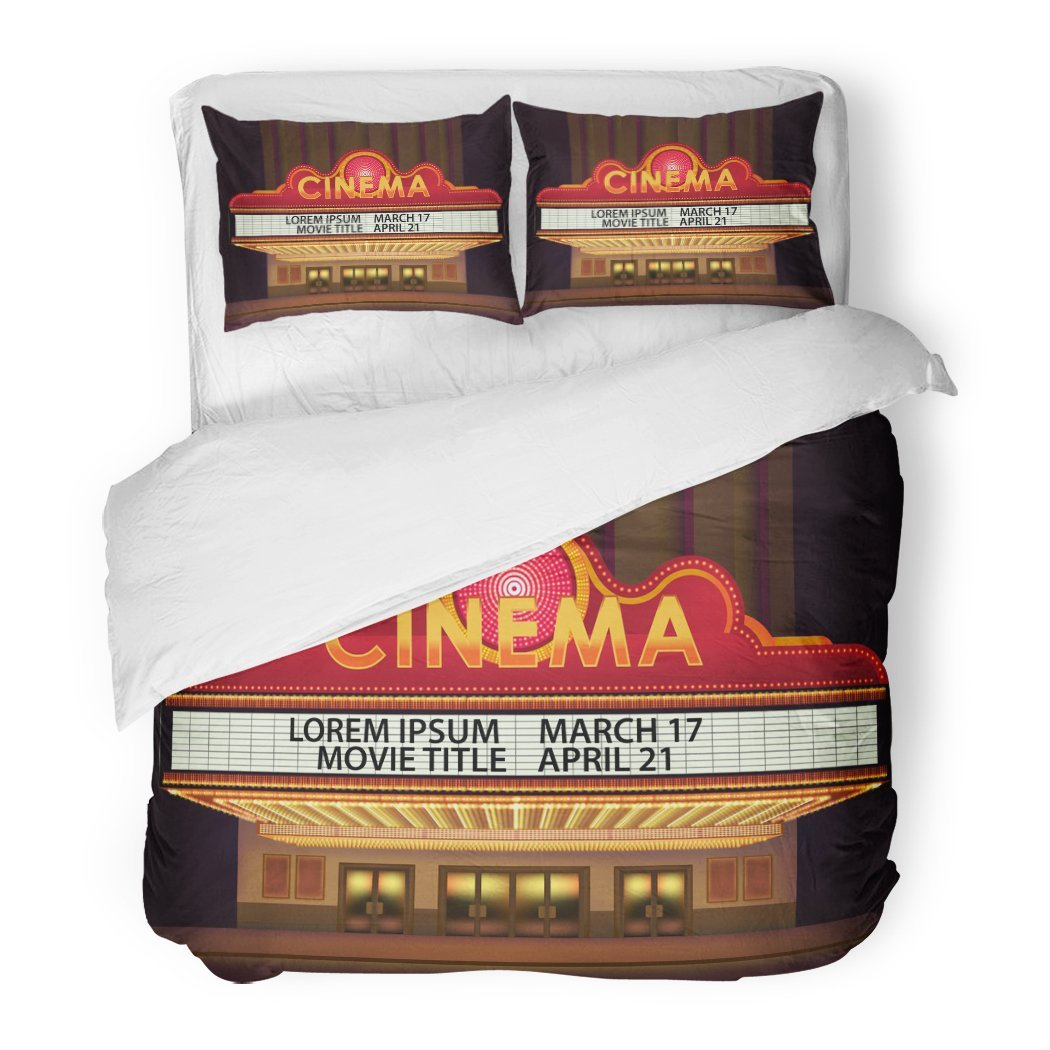 SanChic Duvet Cover Set Movie Brightly Theater Glowing Retro Cinema Neon Sign Old White Marquee Billboard Decorative Bedding Set with 2 Pillow Shams Full/Queen Size