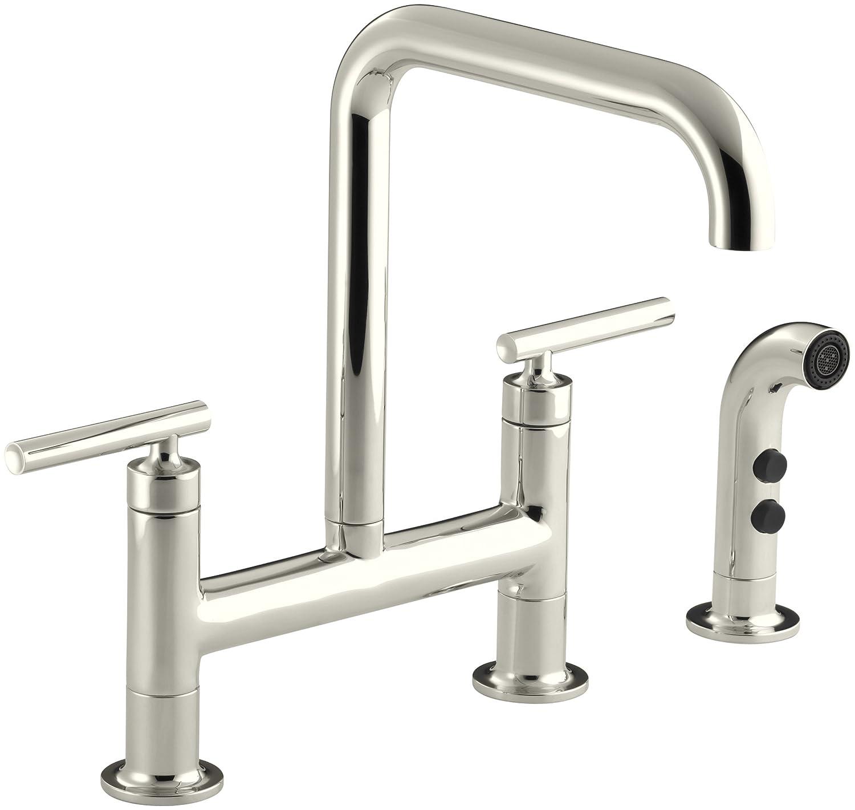 kohler k 7548 4 vs purist deck mount bridge faucet with sidespray kohler k 7548 4 vs purist deck mount bridge faucet with sidespray vibrant stainless touch on kitchen sink faucets amazon com