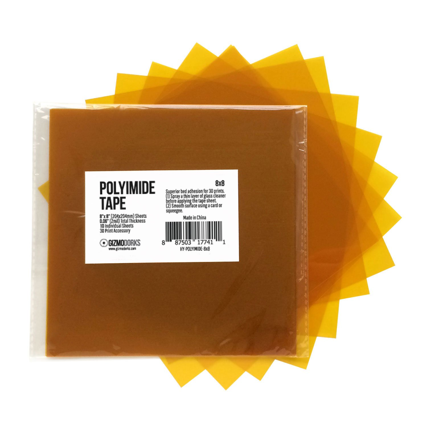 Gizmo Dorks Kapton Tape (Polyimide) for 3D Printers and Printing, 8 x 8 inches, 10 sheets per pack
