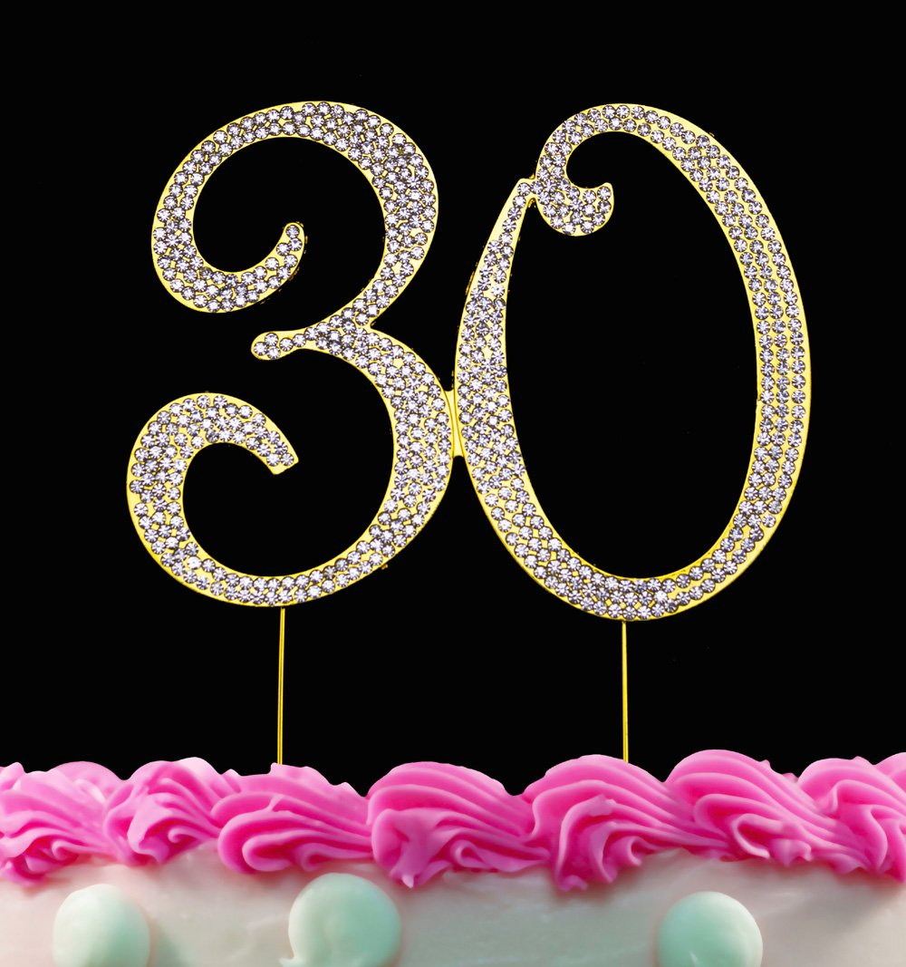 30th Birthday Cake Toppers Gold Topper 30 Bling Decorations By Yacanna Amazon Grocery Gourmet Food