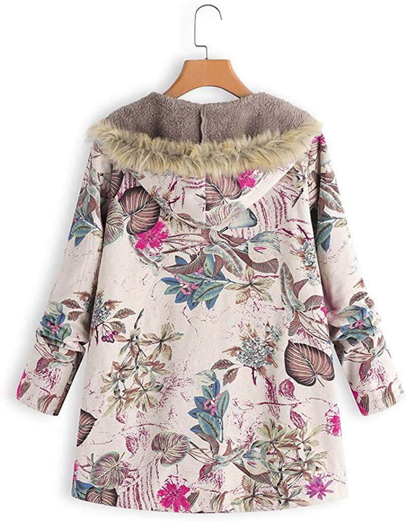 Womens Winter Warm Thick Plush Coat Jacket Floral Print Hooded Vintage Overcoat Warm Faux Lamb Wool Lined Jacket Coat