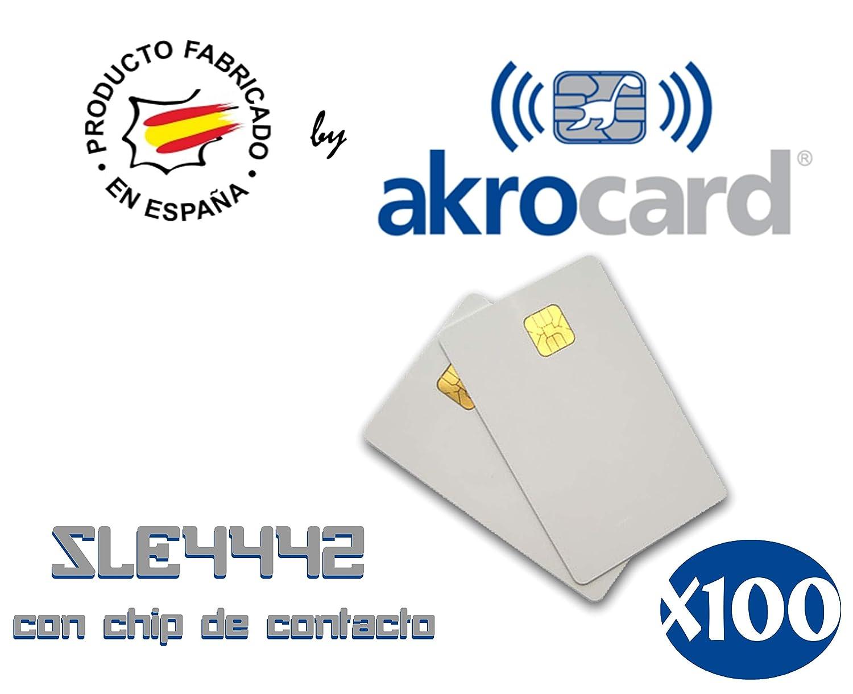 Pack 100 - Tarjeta PVC blanca con chip de contacto memoria SLE4442 ...