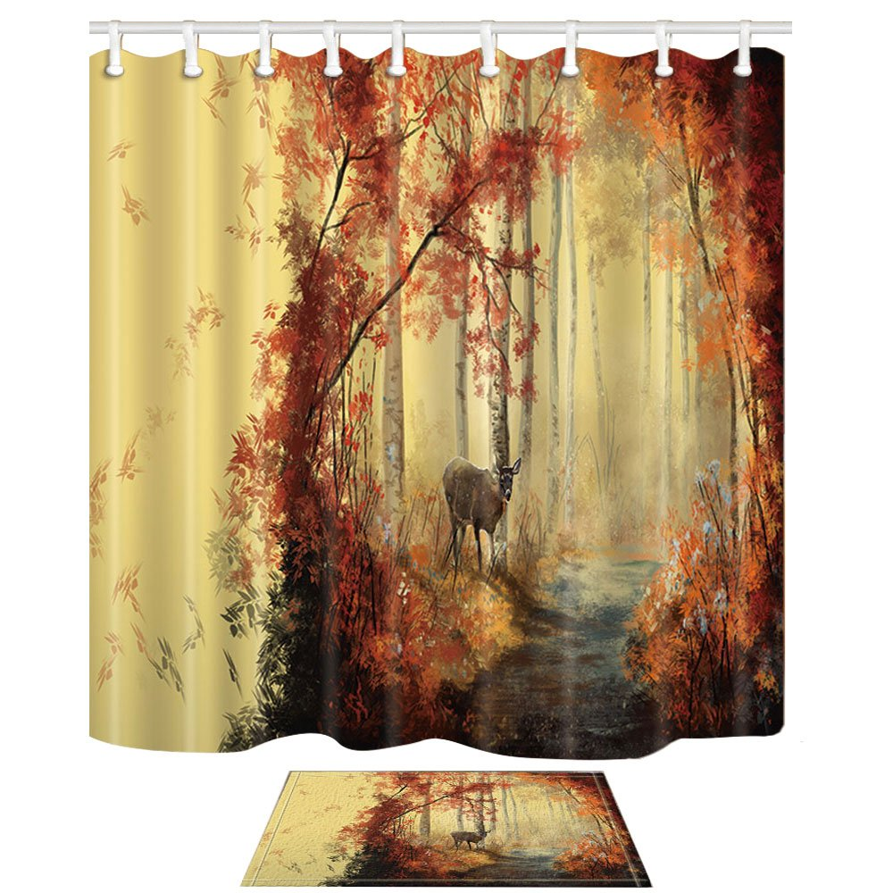 NYMB Animal Shower Curtains, Autumn Deer In Forest Like A Dream, 69X70in Mildew Resistant Polyester Fabric Shower Curtain Set With 15.7x23.6in Flannel Non-Slip Floor Doormat Bath Rugs