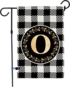 AKPOWER Small Garden Flag Black and White Plaid Check Vertical Double Sided Farmhouse Burlap Yard Outdoor Decor Classic Monogram Letter 12.5 x 18 Inch O