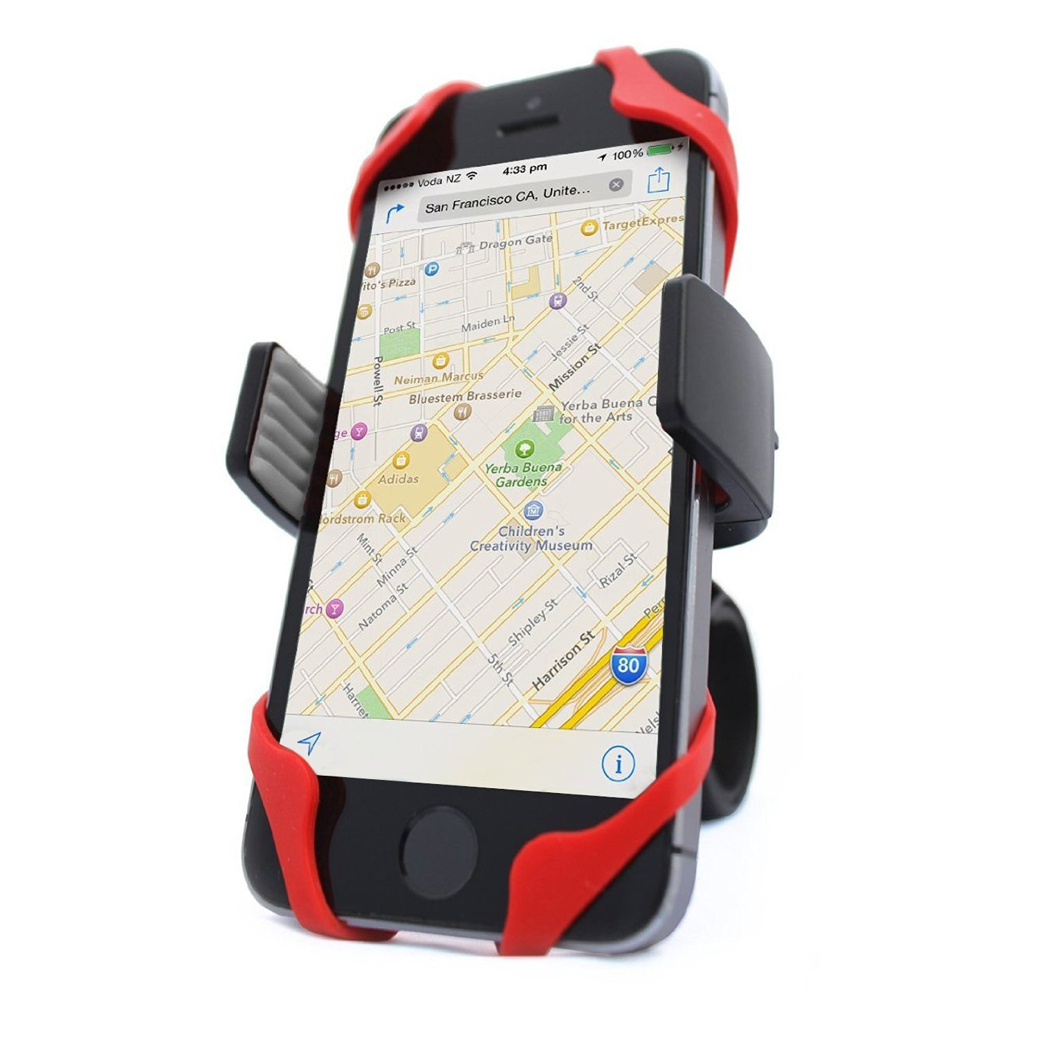 Vibrelli Bike Phone Mount - Fits Any Smart Phone: iPhone Xs, Max, XR, X, 8, 8 Plus, 7, 7 Plus, 6, 6 Plus and Android Devices