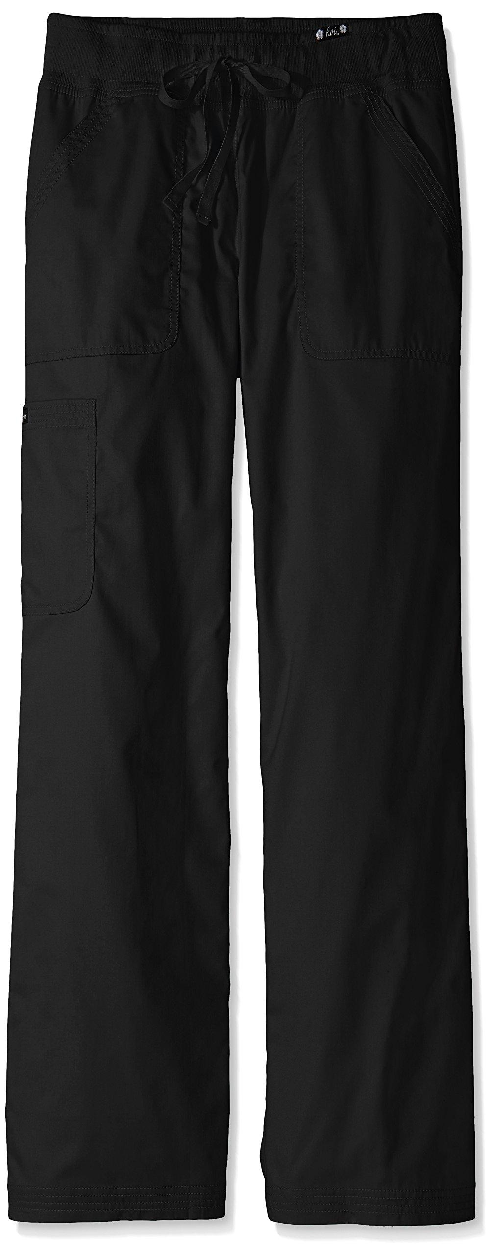 KOI Women's Tall Morgan Ultra Comfy Yoga-Style Cargo Scrub Pants, Black, Medium/Tall