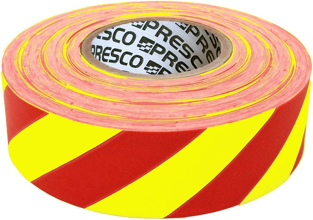 White 12 Rolls Flagging Checkerboard Tape 1 3//16 in x 300 ft Non-Adhesi Orange
