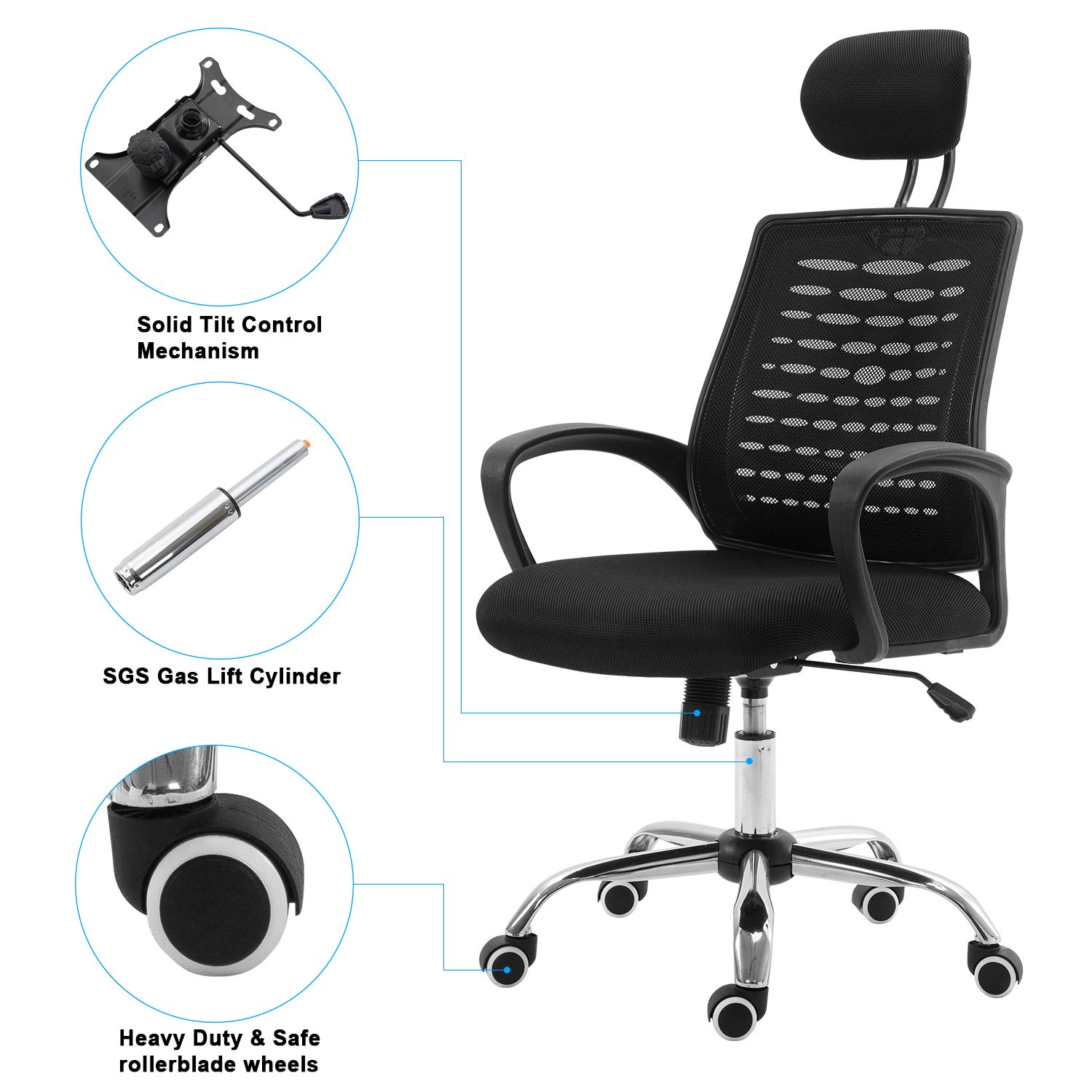 Ergonomic Mesh Office Chair, Office Task Chair with High Back Support Adjustable Headrests, Great Task Desk Executive Chair Ergonomic Computer Task Chair for Desk Home Office-Black
