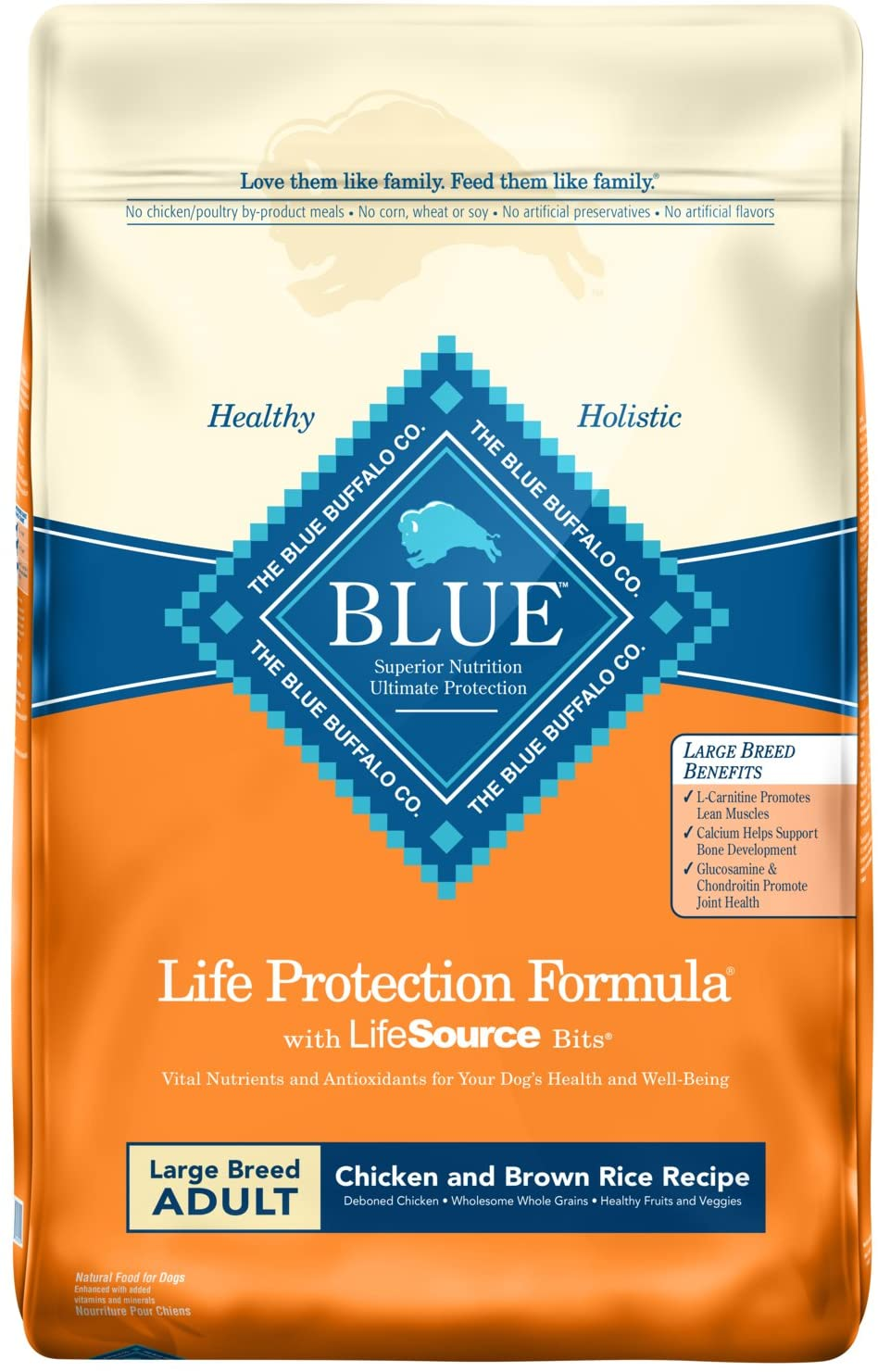 Blue Buffalo Life Protection Formula Large Breed Dog Food – Natural Dry Dog Food for Adult Dogs – Chicken and Brown Rice – 30 lb. Bag