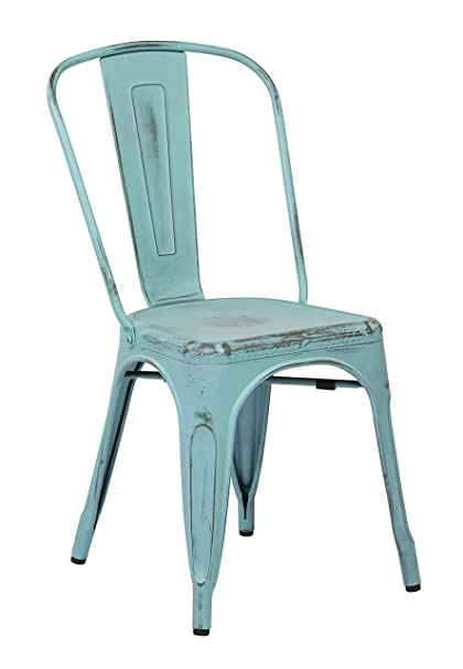 Lovely Office Star Bristow Metal Seat And Back Armless Chair, Antique Sky Blue, 4