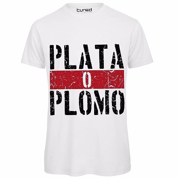 df20b3a88d CHEMAGLIETTE! Maglietta Divertente Uomo T-Shirt con Stampa Frasi Narcos  Plata o Plomo Tuned