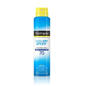 Neutrogena CoolDry Sport Sunscreen Spray, with Broad Spectrum SPF 70 UVA/UVB Protection, Sweat- & Water-Resistant, PABA-Free with a Lightweight, Oil-Free Formula, 5 oz (Pack of 2)