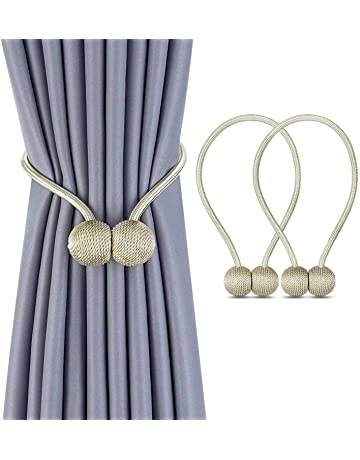 Office Hotel Window Pretty and Fashion Window Curtain Tiebacks 6 Pack Magnetic Curtain Holdbacks Small Pearl Ball Curtain Holder Buckle Clips Rope Holdbacks for Home Grey