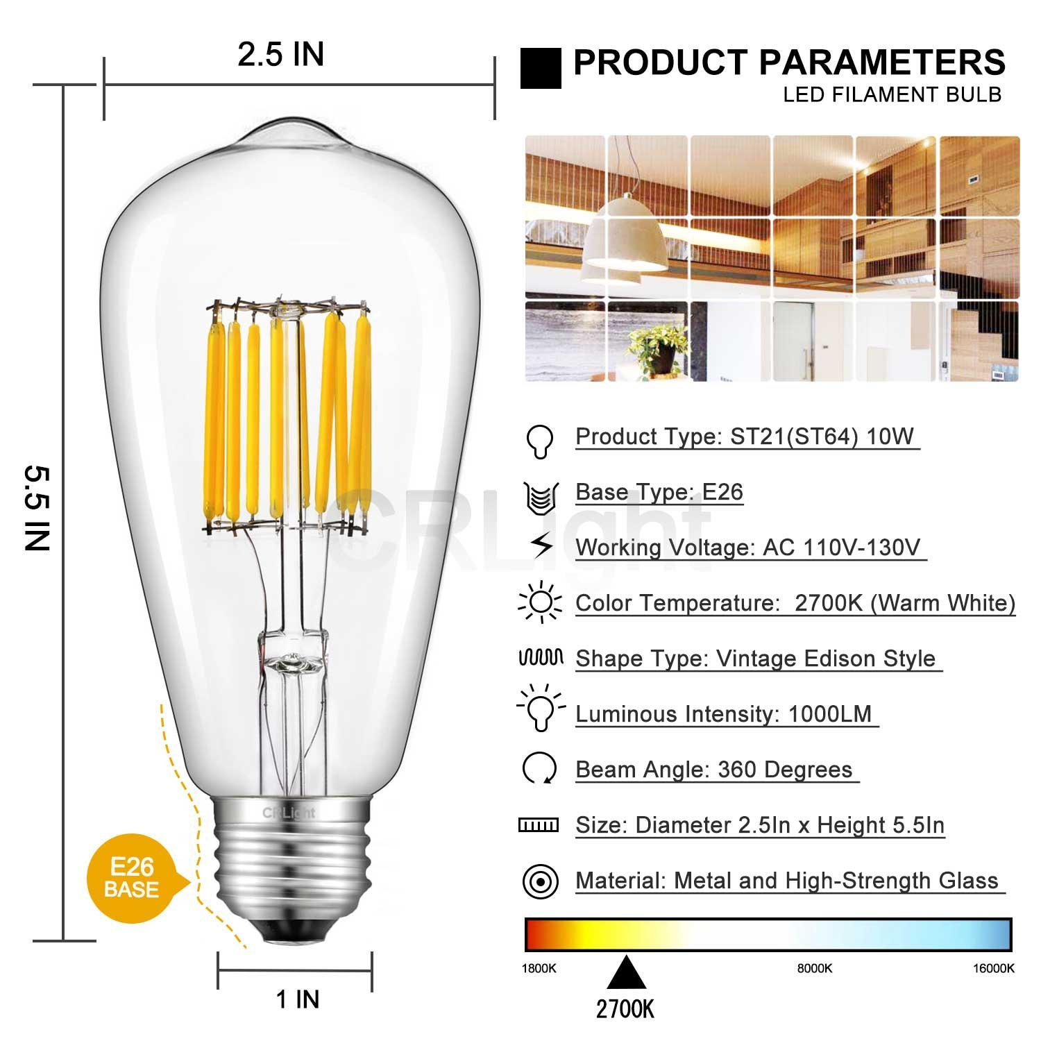CRLight 10W LED Edison Bulb 5000K Daylight White 1000LM Non-dimmable 100W Incandescent Equivalent E26 Medium Base ST64 Vintage LED Filament Bulbs Replace 20W Compact Fluorescent CFL Bulbs