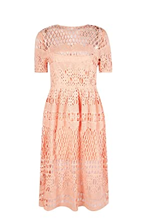50acde3ba87d Boohoo Womens Boutique Vi Corded Lace Panelled Skater Dress - Pink -:  Amazon.co.uk: Clothing