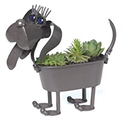 Mini Wiener Dog Metal Planter