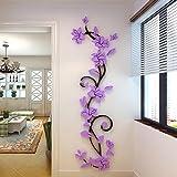 Jamicy® DIY 3D Acryl Blume Wand Aufkleber Wohnzimmer Schlafzimmer TV Hintergrund Heimtextilien (Lila)
