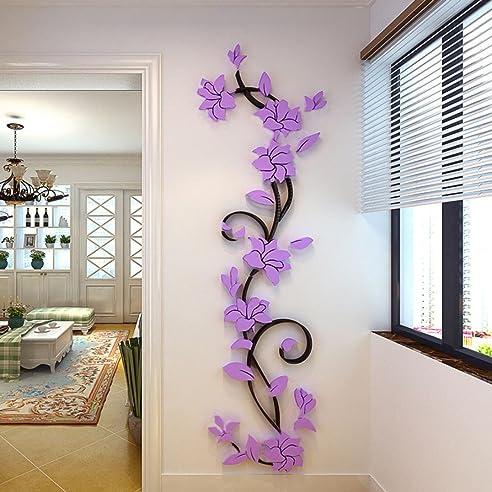 jamicy diy 3d acryl blume wand aufkleber wohnzimmer schlafzimmer tv hintergrund heimtextilien lila - Wohnzimmer Mit Schlafzimmer