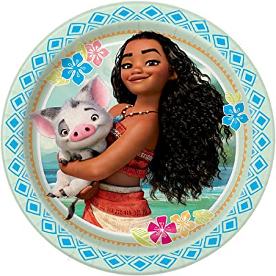 "Disney Moana Party Dinner Paper Plates, 9"", 8 Ct.: Toys & Games"