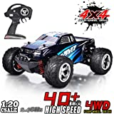 MaxTronic RC Car 1:20 4WD High Speed Off Road Remote Control Car 45km/h 2.4GHz All Terrain Radio Controlled Racing Monster Truck 1500mAh Lithium Battery (blue)