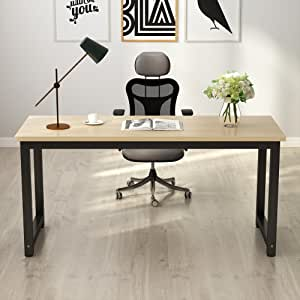Tribesigns Computer Desk, 63 inch Large Office Desk Computer Table Study Writing Desk for Home Office, Walnut + Black Leg