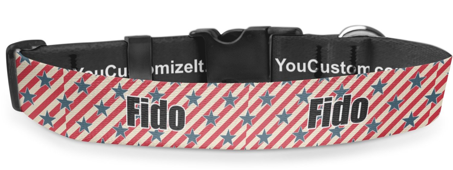 RNK Shops Stars and Stripes Deluxe Dog Collar - Toy (6'' to 8.5'') (Personalized)