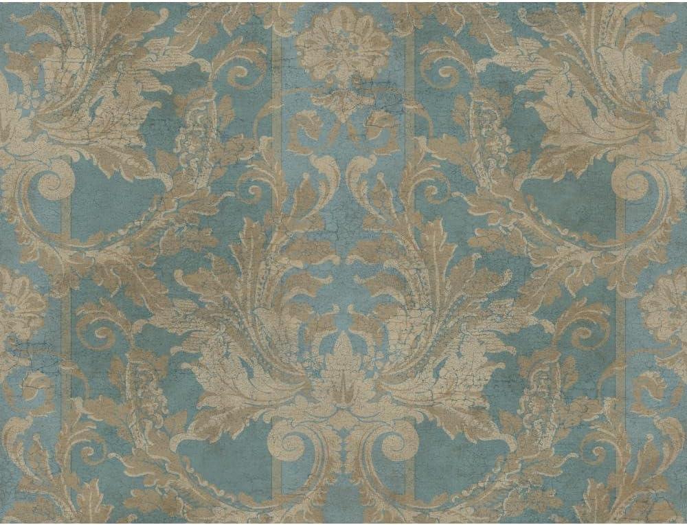 York Wallcoverings Gf0789 Gold Leaf Aida Damask W Stripe Wallpaper