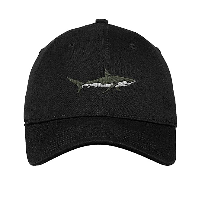 d6307636cdc Image Unavailable. Image not available for. Color  Shark Embroidered Unisex  Adult Flat Solid Buckle Cotton Unstructured Hat Low Profile ...
