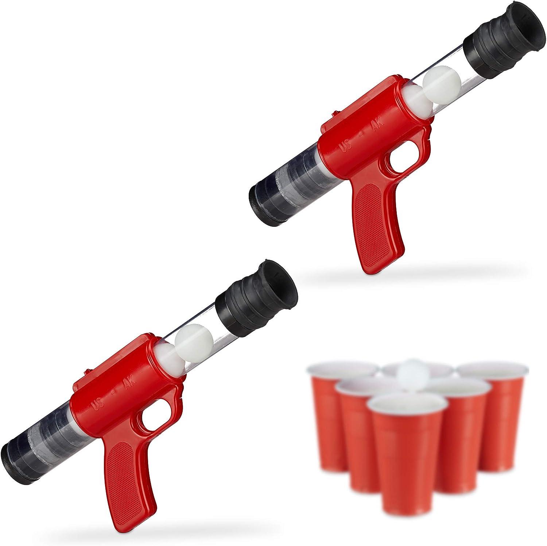 Relaxdays Pack de 2 Pistolas Juguete de Bolas con 10 Pelotas de 3 cm para Beer Pong, Rojo, 12,5 x 5 cm x 29-38 cm