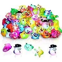 48 Pack Light Up Rings for Kids Birthday Party Favors Led Jelly Rings Flashing Finger Lights Glow in the Dark Rings Bulk…