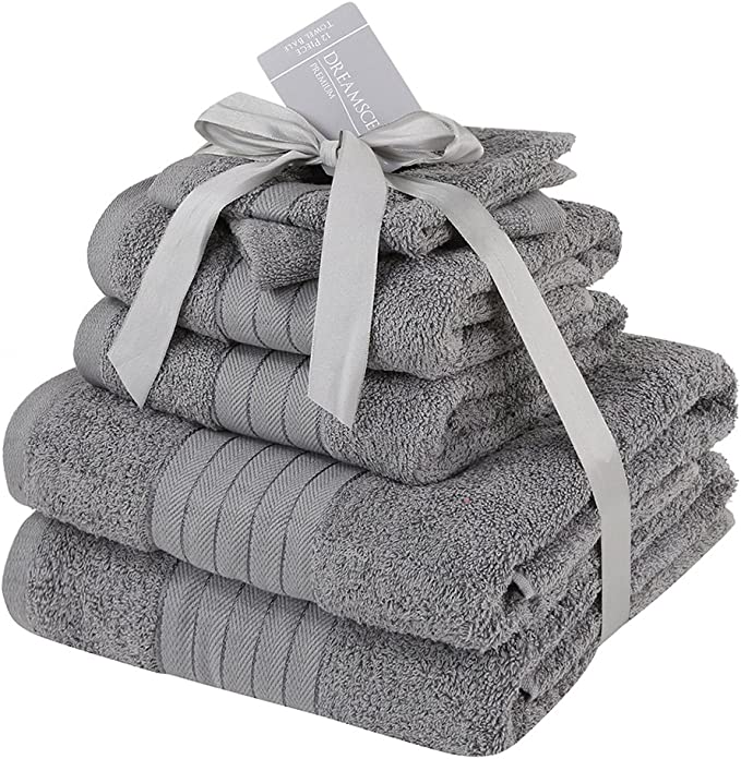 cotone Dreamscene-Set di asciugamani confezione da 6 485 g//m/² colore: argento