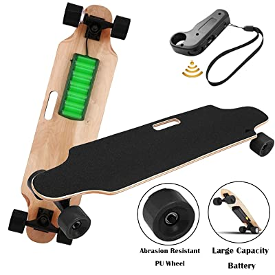 Aceshin Electric Skateboard Motorized Skateboard 20 KM/H Top Speed, 250W Motor, 7 Layers Maple Longboard with Wireless Remote Control Gift for Adult Kids Teens (Black) : Sports & Outdoors