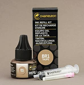 Chameleon Art Products, Ink Refill, Taupe BR1, Complete Refill Kit - 25 ML