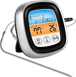 Instant Read Digital Meat Thermometer 40in Probe for Cooking Oven Safe Food Thermometer Digital with Sensitive Color Large LCD Display for BBQ, Smoker, Grill-(Silver)