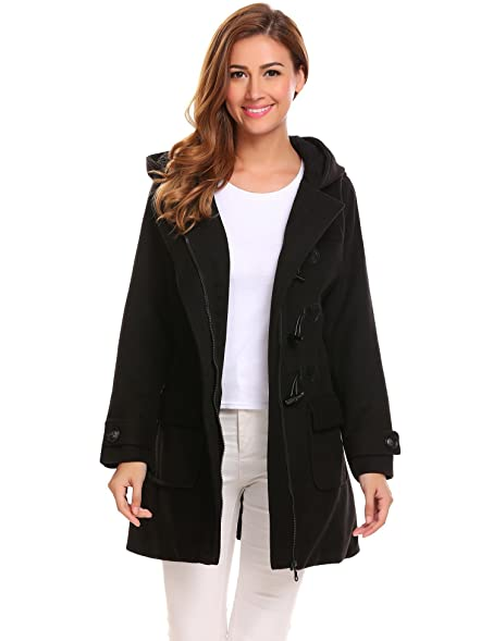 Amazon.com: ELESOL Women's Hoodie Plus Size Jacket Wool Blend ...