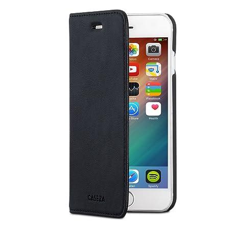 a basso prezzo 4d85c 39dd5 CASEZA Cover iPhone 8 / Cover iPhone 7 Nero Similpelle a Libro Oslo  Custodia Flip Eccellente in Pelle Sintetica a Portafoglio per l'Apple  iPhone 8 & 7 ...