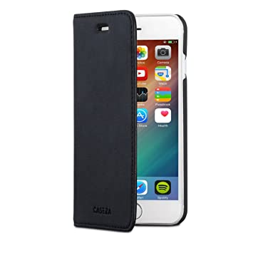 CASEZA iPhone 8 Funda/iPhone 7 Funda Negra Tipo Libro Piel PU Case Cover Carcasa Plegable Cartera Oslo Piel Vegana Premium para Apple iPhone 8 & 7 ...
