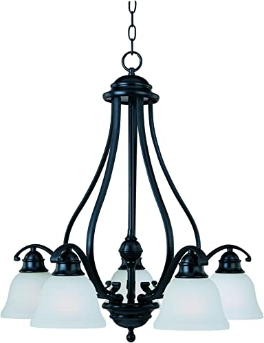 Maxim 11815ICBK Linda 5-Light Chandelier, Black Finish, Ice Glass, MB Incandescent Incandescent Bulb , 100W Max., Dry Safety Rating, Standard Dimmable, Opal Glass Shade Material, 1150 Rated Lumens