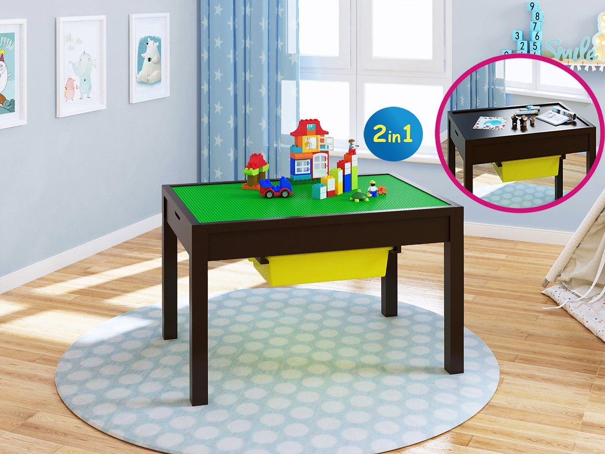 UTEX 2-in-1 Kid Activity Table with Storage Compartment and Two Storage Bins, Play Table for Kids,Boys,Girls, Espresso by UTEX