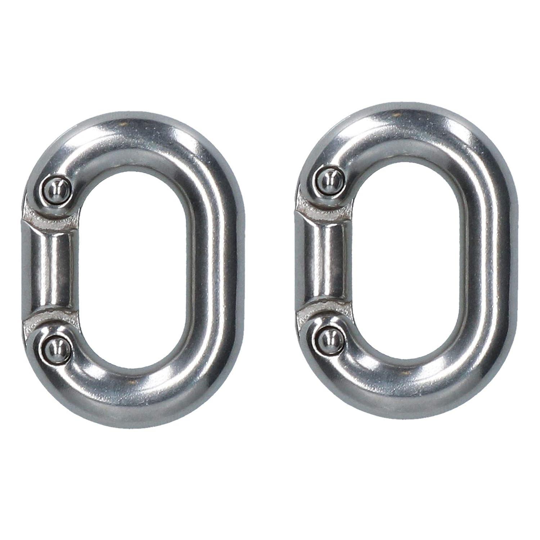 Eslab/ón de conexi/ón de la cadena de 2 x 6 mm de acero inoxidable de grado marino grillete Split DK70
