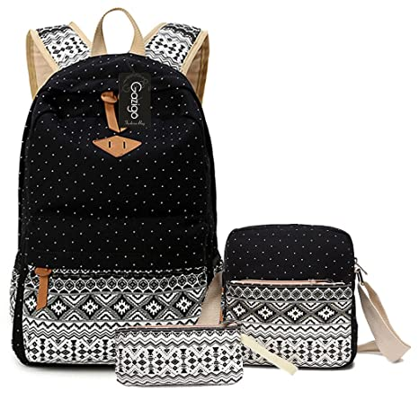 54dfcf6b1 Amazon.com: Gazigo Geometry Girls Canvas College Laptop Backpack + Lunch Bag  (Backpack kuayz06a2): Toys & Games