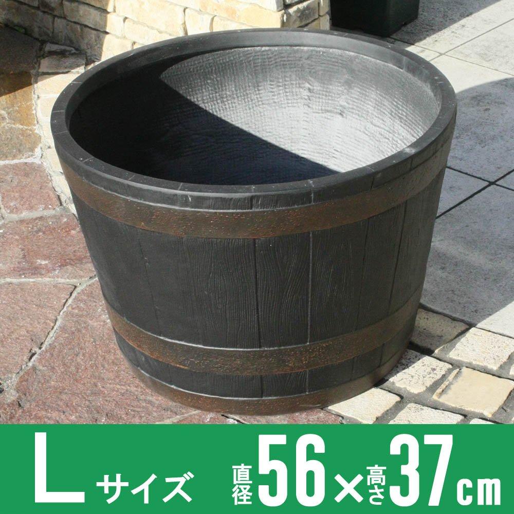 バレルポット Lサイズ グラスファイバー製植木鉢 (ブラック) B01N1RG4D4