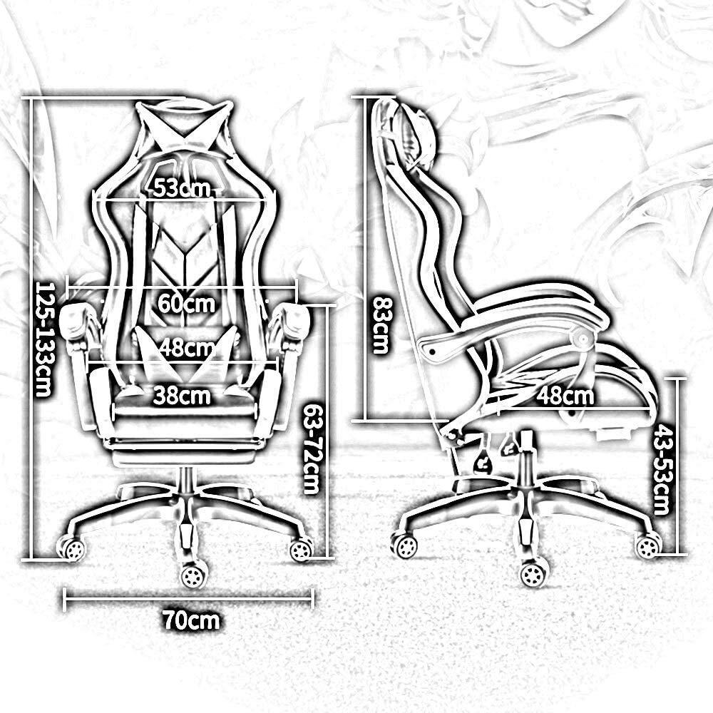Xiuyun spelstol, upphöjande roterande vilande kontorsstol med fotstöd hög rygg E-sportstol ergonomi datorstol med nackstöd och massage ländrygg kudde atletisk stol blå vit