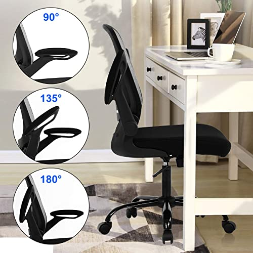Home Office Chair Computer Chair Ergonomic Desk Chair Mid Back Mesh Chair,with Lumbar Support Flip-up Arms Massage Office Chair Height Adjustable Swivel Executive Works Task Computer Chair,Grey
