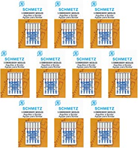 50 SchmetzEmbroidery Sewing Machine Needles - Assorted sizes - Box of 10 cards